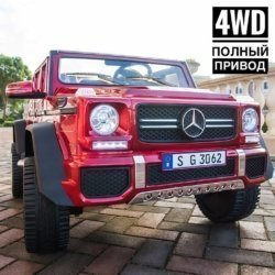 Электромобиль Mercedes-Benz Maybach G650 AMG 4WD красный (2х местный, полный привод, резина,  кожа, пульт, музыка)